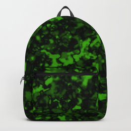 A gloomy cluster of green bodies on a dark background. Backpack