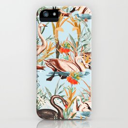 Swan floating in lake iPhone Case
