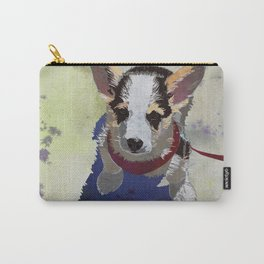 Corgi Puppy Art Print |Welsh Corgi Dog Art | Cute Corgis Watercolor Print - Concrete Carry-All Pouch