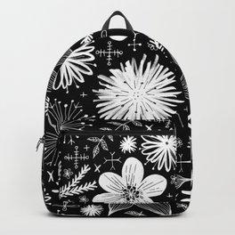 white flowers on black Backpack
