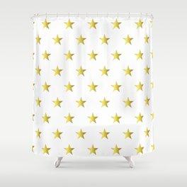 Gold Stars Shower Curtain