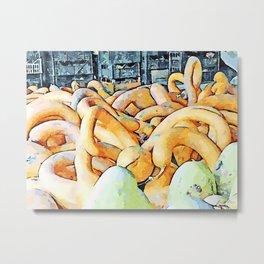 Hortus Conclusus: pumpkins orange and pumpkins green in the attic Metal Print