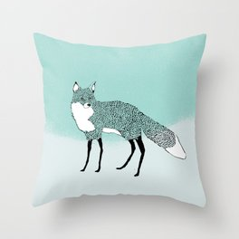 Fox in the snow – Animal Illustration – Kitsune in snow scene – vintage colors – antiqued colors Throw Pillow