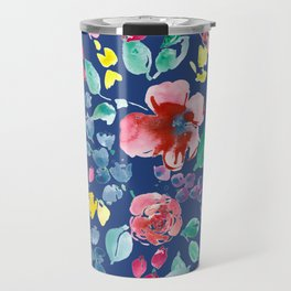 Summer Blooms on True Blue Travel Mug