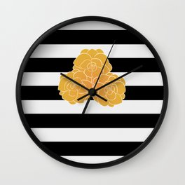 Stripes and Golden Roses Wall Clock