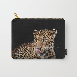 Leopard portrait on dark background Carry-All Pouch