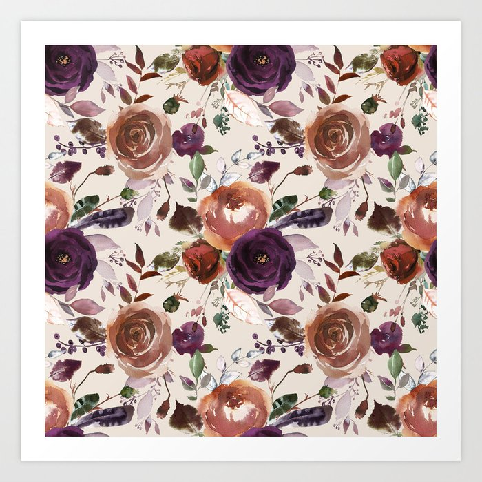 Bohemian orange violet brown watercolor floral pattern Kunstdrucke