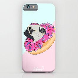 Pug Donut Strawberry Profile iPhone Case