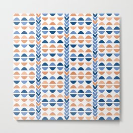 Modern Geometric Shapes in Classic Blues and Muted Oranges Metal Print