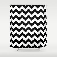 chevron Shower Curtains featuring Chevron (Black/White) by 10813 Apparel
