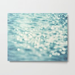 Sparkly Water Abstract Photography, Aqua Blue Sparkle Art Metal Print