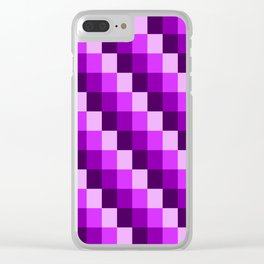 Violet Purple & Pink Geometric Checked Mosaic Pattern Clear iPhone Case