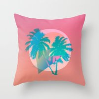 hotline miami Throw Pillows featuring MIAMI by DIVIDUS DESIGN STUDIO