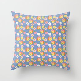 Doodle Florals on a Blue Background Throw Pillow