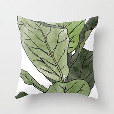 Ficus Lyrata Potted Plant.. Throw Pillow