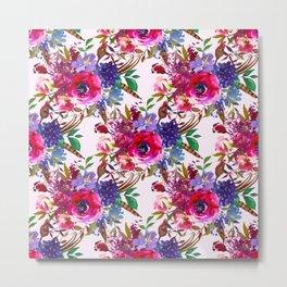 Magenta pink lavender blue watercolor bohemian floral Metal Print