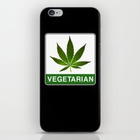 vegetarian iPhone & iPod Skins featuring VEGETARIAN Weed by Spyck