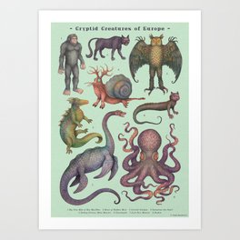 Cryptids of Europe, Cryptozoology species Art Print