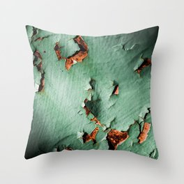 Cool turquoise brown rusty metal Throw Pillow