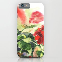 plant geranium, flowers and leaves, watercolor iPhone Case