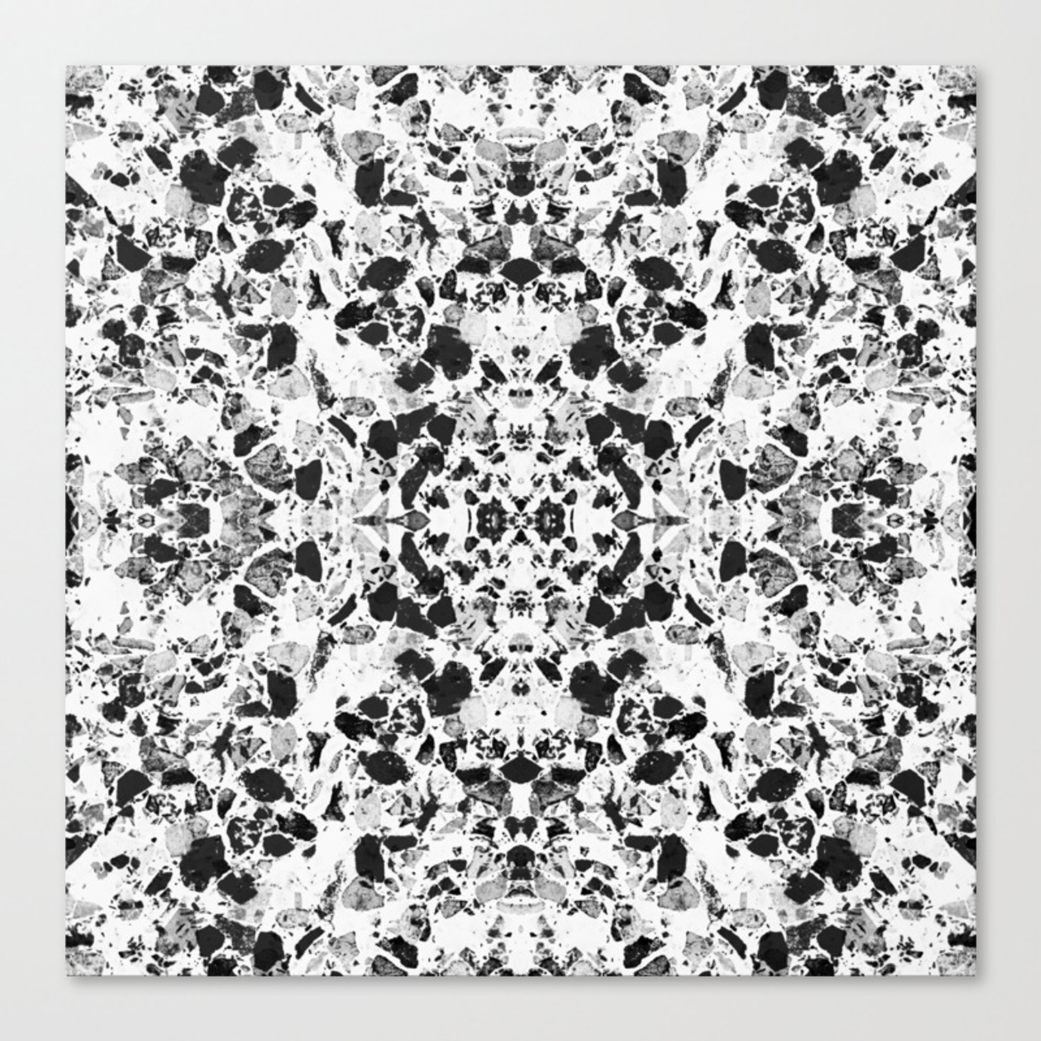 Beautiful Black and White Terrazzo Tile Canvas Print