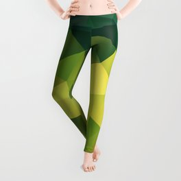 Abstract of triangles polygon in green yellow lime colors Leggings