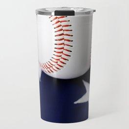 Baseball With Bat On American Flag Travel Mug