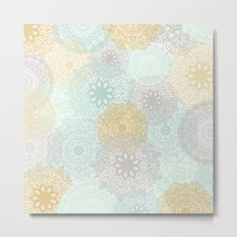 Floral Mandala Blooms Fall, Yellow, Aqua,Gray Metal Print