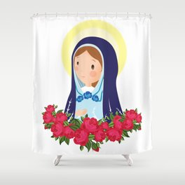 Virgin Mary with roses Shower Curtain
