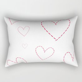 Seamless background with hearts sewn in red thread Rectangular Pillow