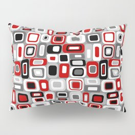 Mid Century Modern Squares and Rectangles // Red, Gray Black, White Pillow Sham