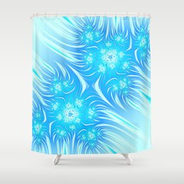 Abstract Christmas aqua blue white pattern. Frozen flowers Shower Curtain