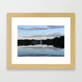 Evening Fountain Photo Framed Art Print