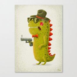 Dino bandito (olive) Canvas Print