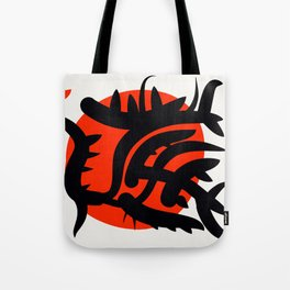 Red Japanese Sun abstract minimalist painting Tote Bag