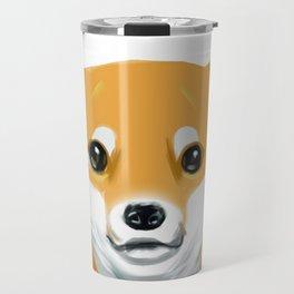 a shiba inu dog headshot Travel Mug