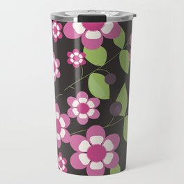 Graphic flowers: Britannia Flowers (black, pink and green) Travel Mug