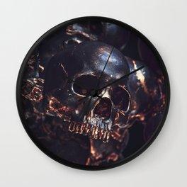 Black Gold Skull Wall Clock