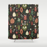 holiday Shower Curtains featuring Holiday Ornaments  by Anna Deegan