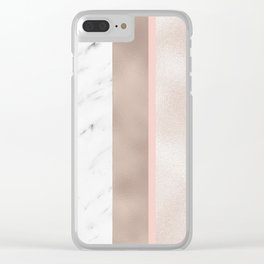 Cloudy marble on golden rose Clear iPhone Case