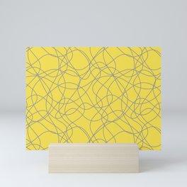 Abstract Hand Drawn Mosaic Pattern Pantone 2021 Color Of The Year Illuminating Ultimate Gray Mini Art Print