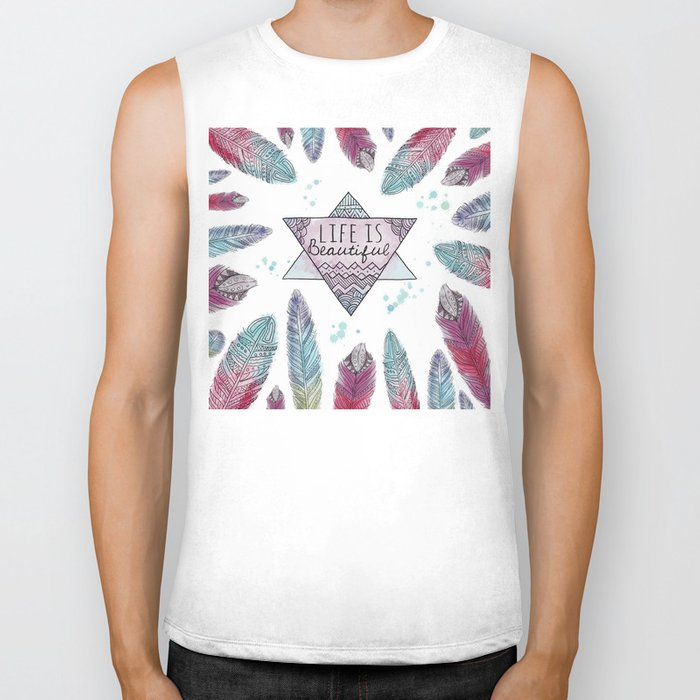 Life is beautiful (watercolor boho feathers) Biker Tank