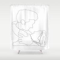 derek hale Shower Curtains featuring Grey's Anatomy // Meredith and Derek by Bethany Mallick