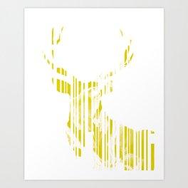 Geometric Yellow Stag Art Print