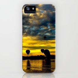 Aerostatic balloons at sunrise, over the lake. iPhone Case