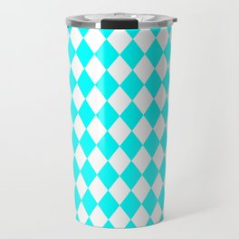 Diamonds (Aqua Cyan/White) Travel Mug