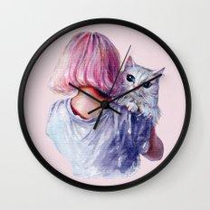Pink Cuddles Wall Clock