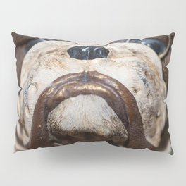 Detail of the muzzle of a bulldog dog in a comic style Pillow Sham