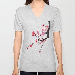 red plum flower Unisex V-Neck