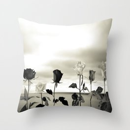 Roses and sea Throw Pillow